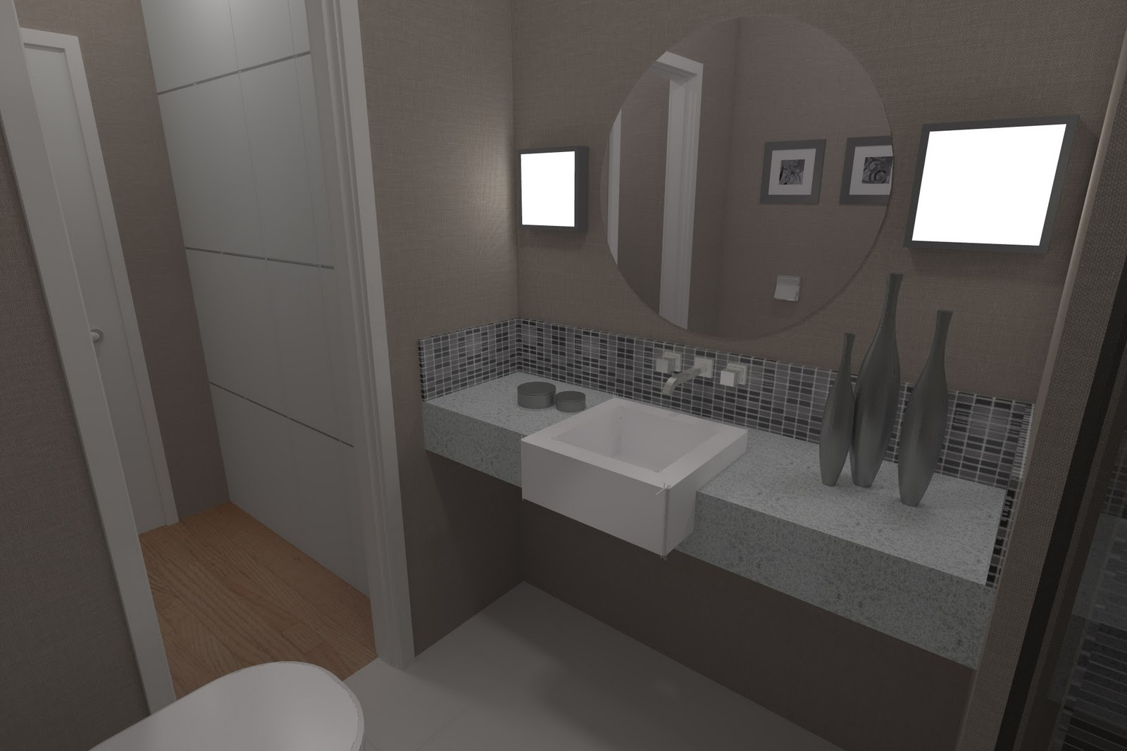 Arquitessências: Arquitetura em 3D Banheiro suíte   closet  #58504B 1600 1067
