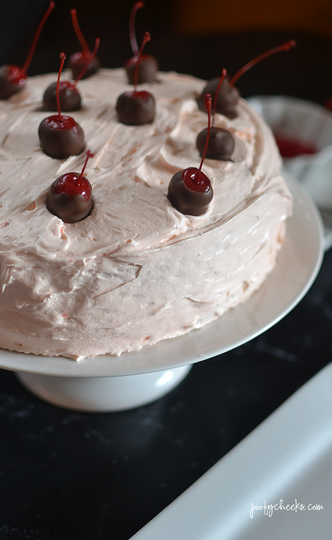 Maraschino Cherry Cake Recipe - A decadent cake that starts with a box mix for Valentine's Day