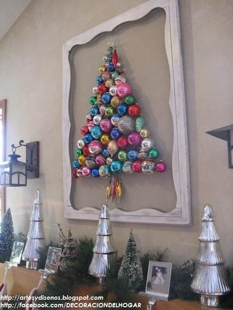 diy originales rboles de navidad pegados en la pared