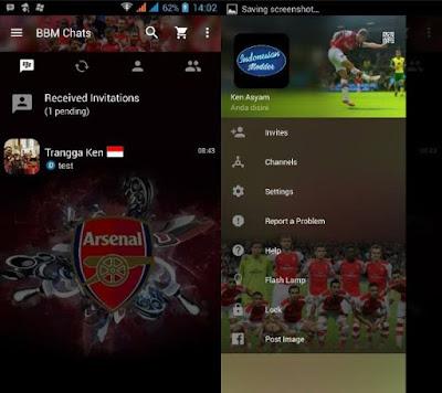 BBM MOD NEW Versi 2.12.0.9 Tema Arsenal Clone
