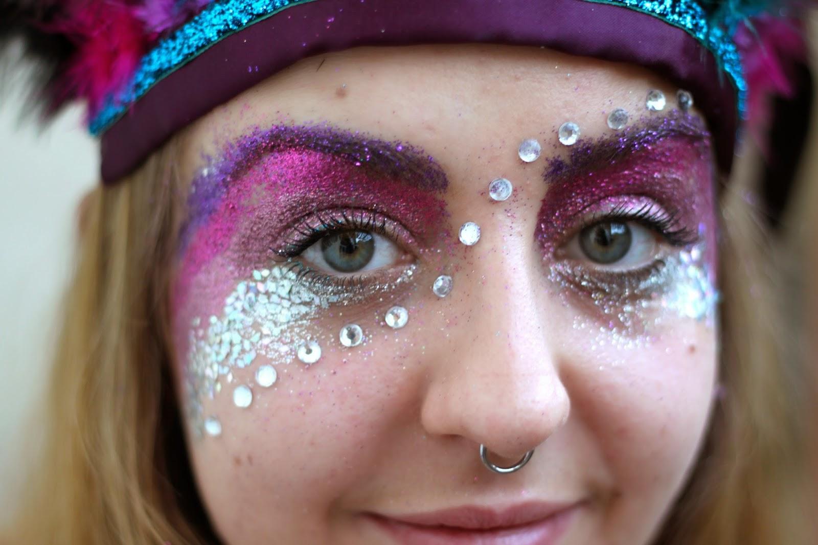 dulcie's feathers, festival, glitter, face paint, festival style, gems, rhinestones, glitter eyebrows