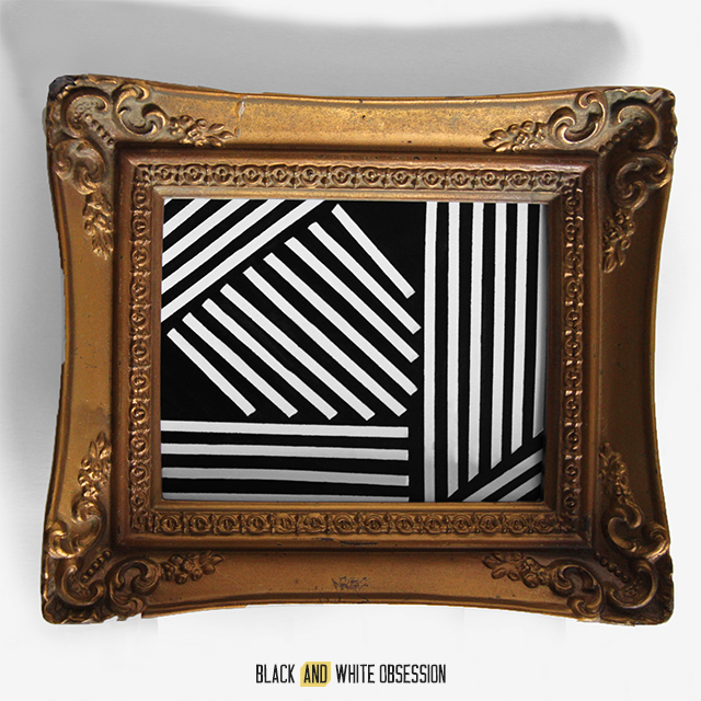 Swap It Like It's Hot: Mini Gold Paintings Bold Lines | www.blackandwhiteobsession.com