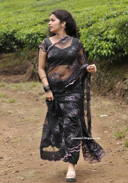 Swathi exposing her  navel and  deep Cleavage