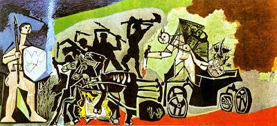 'La Guerra' (1952), óleo de Pablo Picasso, Temple de la Paix, Vallauris, tomada de artinvest2000.com
