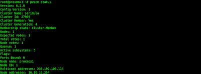 Status cluster di Proxmox 2.3