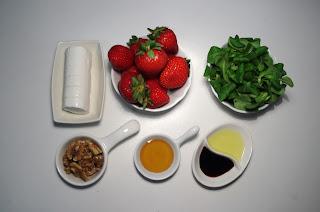 ensalada con fresas y queso de cabra, ingredientes