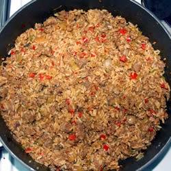 arroz frito con chorizo y jamon