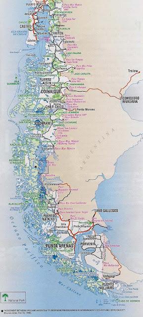 mapa caminero de chile patagonia