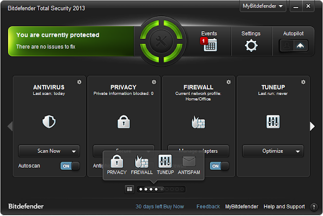 BitDefender Total Security 2013 - Interface