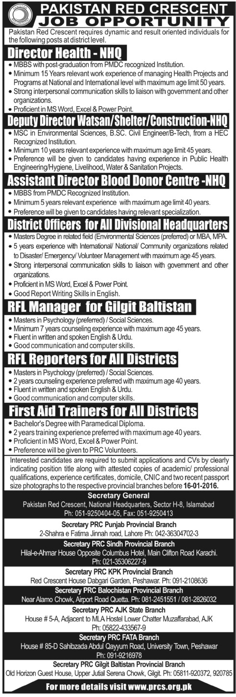 Doctors & Admin Jobs in Pakistan Red Crescent