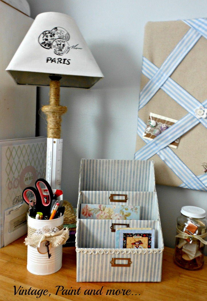 Vintage, Paint and more... vintage paper organizer made from cereal box and scrapbook paper