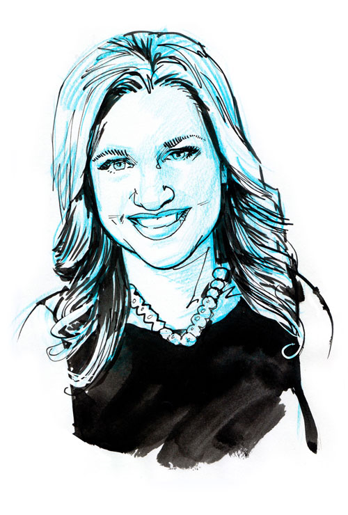 Ink drawing of Mindy Grossman