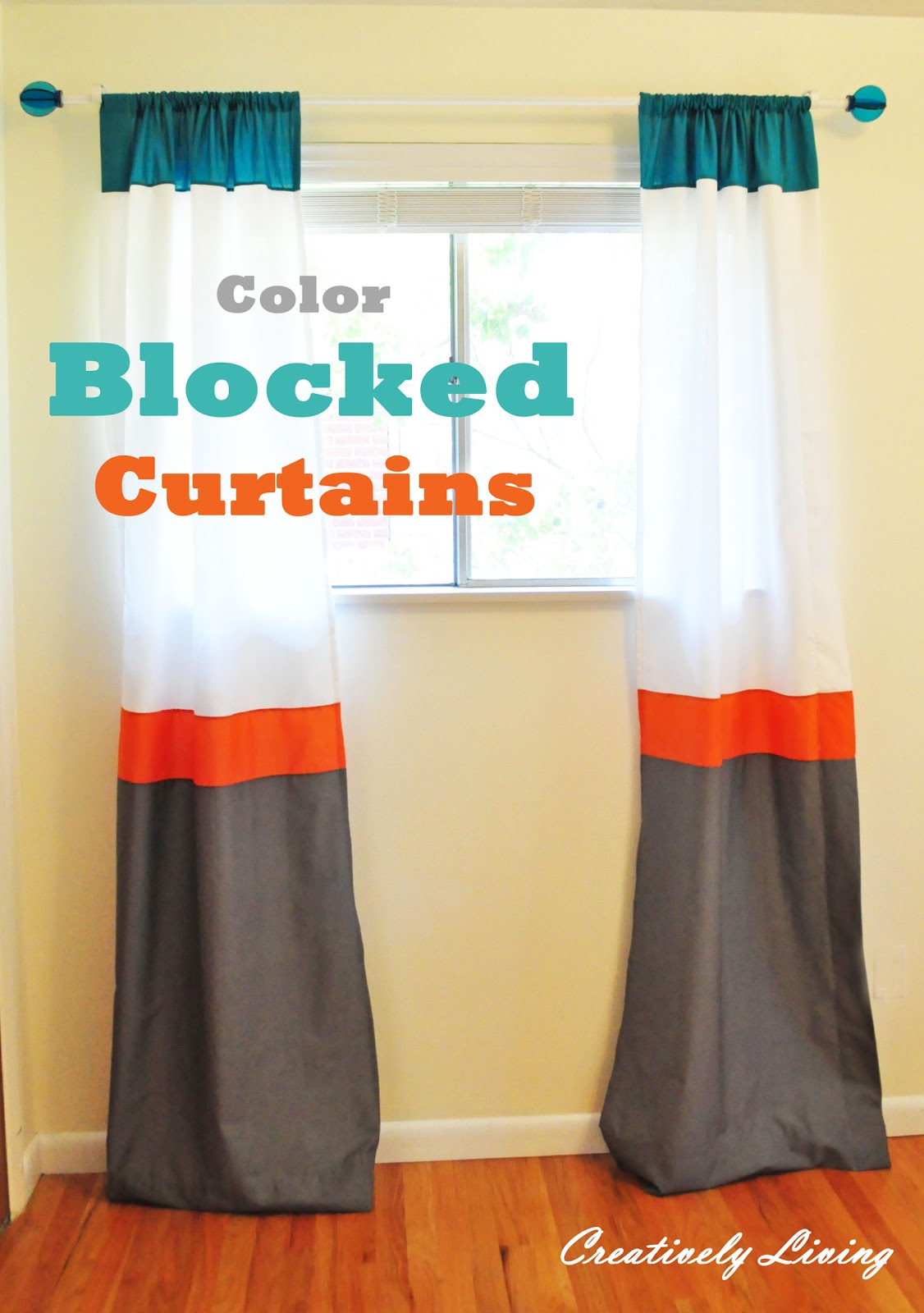 Orange color block curtains - She And Her Husband Wanted To Use Turquoise And Orange And They Wanted It To Have A Modern Or Retro Vibe