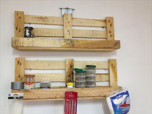 Diy wooden pallet shelves with storage pallet furniture for How to make a spice rack out of pallets