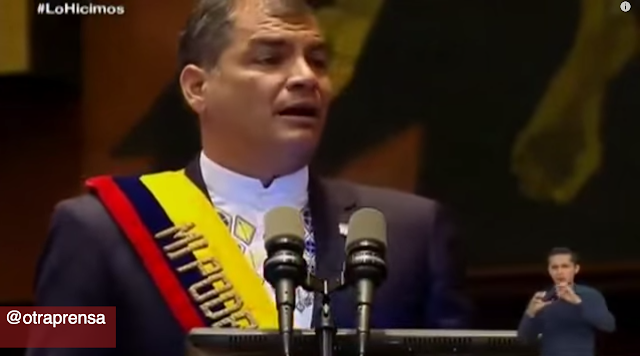 Presidente de Ecuador Rafael Correa alude a expulsión de Agustín Edwards del Colegio de Periodistas de Chile durante mensaje al país