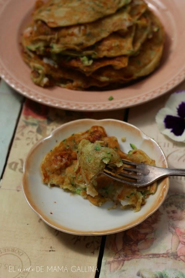 tortitas de calabacín y langostinos