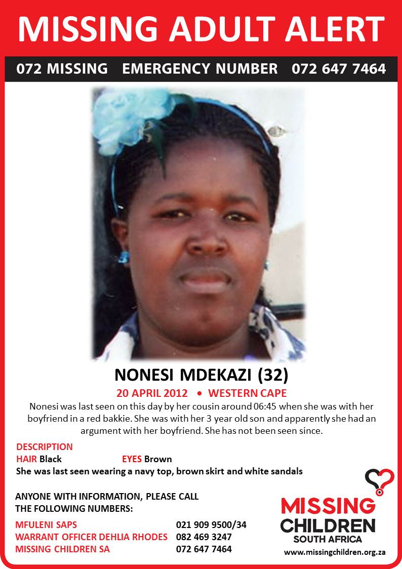 Labels: Missing Adult Alert: Nonesi Mdekazi