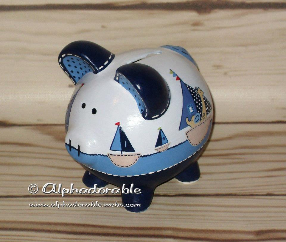 Alphadorable custom hand painted piggy bank to match row your boat crib set by pottery barn - Nautical piggy bank ...