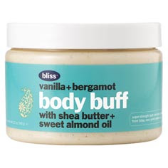 Bliss, Bliss body scrub, Bliss Vanilla + Bergamot Body Buff, body scrub, scrub, shea butter