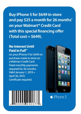 Purchase an iphone 5 at walmart for 649 and watch it pay for