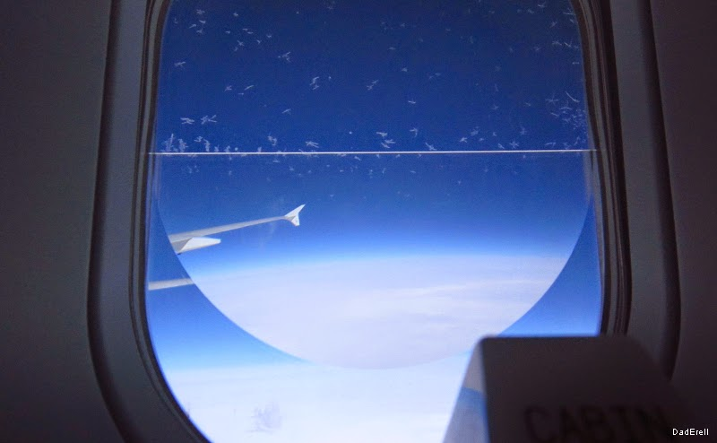 Cristaux de givre sur le hublot de l'Airbus A380