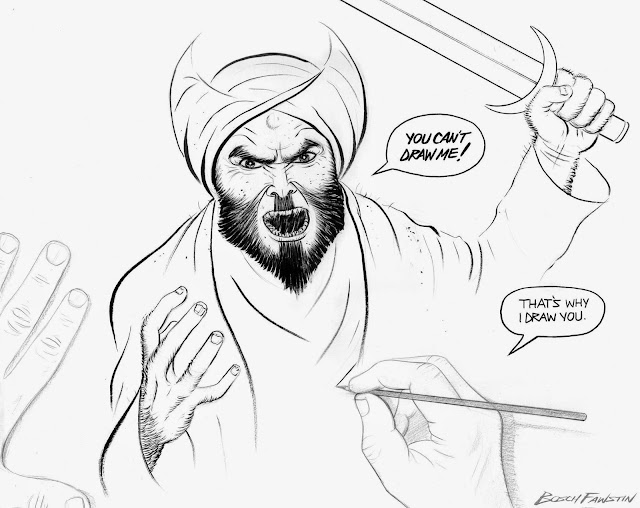 "Drawing of Muhammad by Bosch Fawstin, top award winner at the ""Muhammad Art Exhibit and Contest"" in Garland, TX, May 3, 2015, which was attacked by two gunmen. (Depictions of Muhammad are forbidden in Islam.) The drawing depicts Mohammed with an angry face with a sword held high about to strike the viewer. In a different shade is a drawing of two hands working on the drawing. Mohamed says ""You can't draw me!"" and the artist responds saying ""That's why I draw you."""