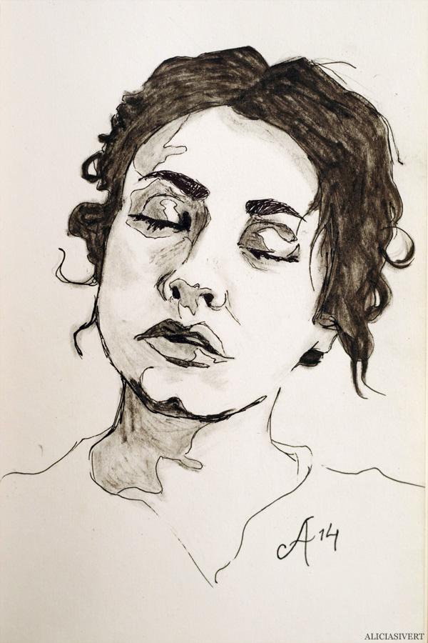 aliciasivert, alicia sivertsson, julia, porträtt, portrait, painting, drawing, teckning, målning, rita, måla, skapa, alster och makeri, bläck, ink