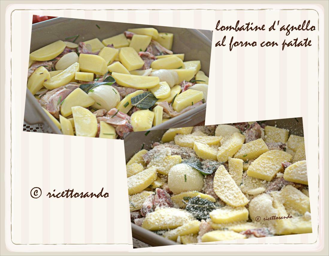 Lombatine di agnello al forno con patate ricopriamo con parmigiano