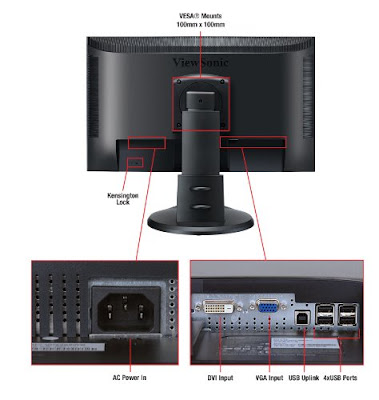 ViewSonic VP2365wb LCD IPS Monitor Back and Input port
