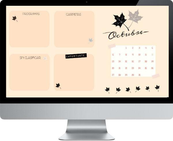 Fondo de escritorio + calendario de octubre
