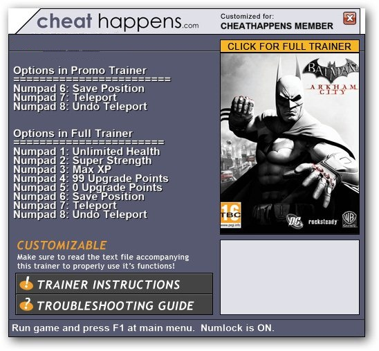 WhatSpecification Batman Arkham City GOTY 3 Trainer