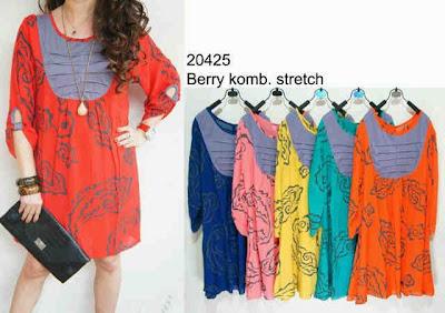 blouse berry kombinasi strech kode: 20425