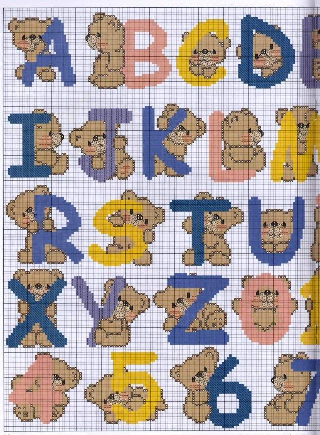 Alfabeto De Ursinho Em Ponto Cruz