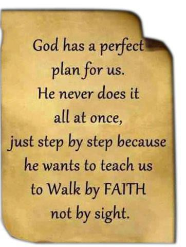God has a perfect plan for us. He never does it all at once, Just step by step because he wants to teach us to walk by FAITH not by sight.
