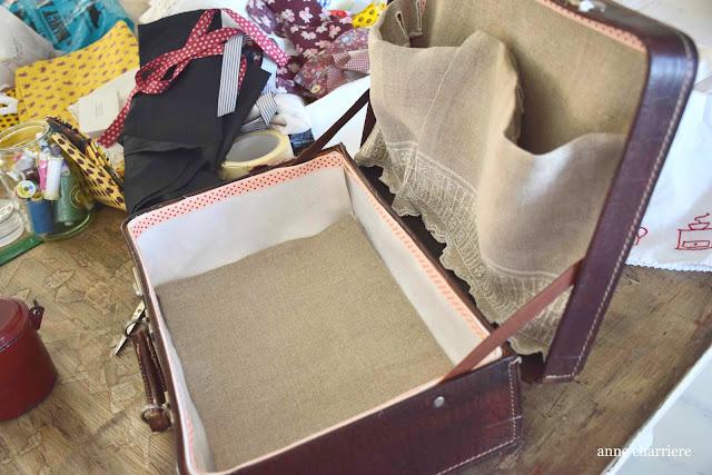 www.annecharriere.com, forrar, tapizar antigua maleta, maleta de los 50,