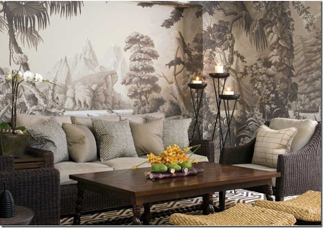 Scenery wallpaper scenic grisaille wallpaper for Chinoiserie wallpaper mural