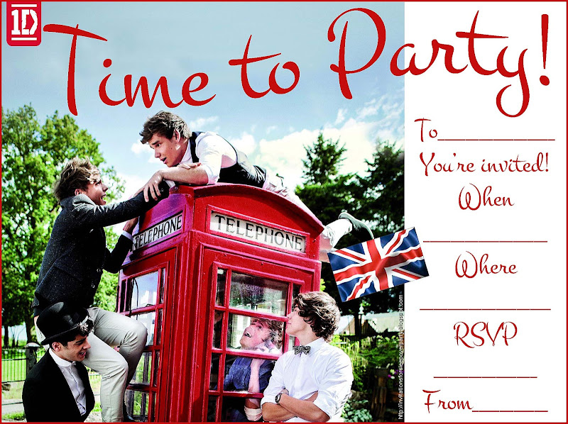 Niall, Zayn, Liam, Harry and Louis - One Direction party invitations title=