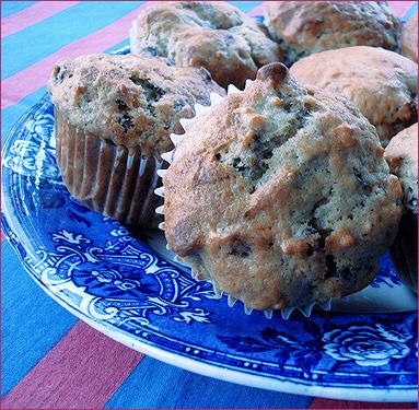 Banana date raisin walnut muffin - close up image