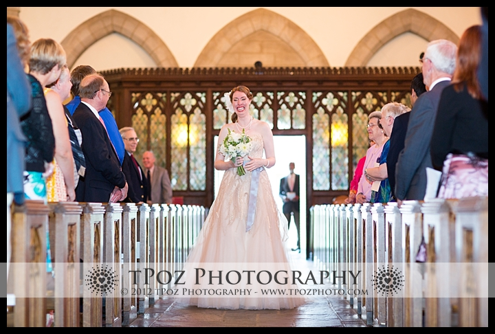 Bride walks down the aisle at Cathedral of the Incarnation Wedding Ceremony