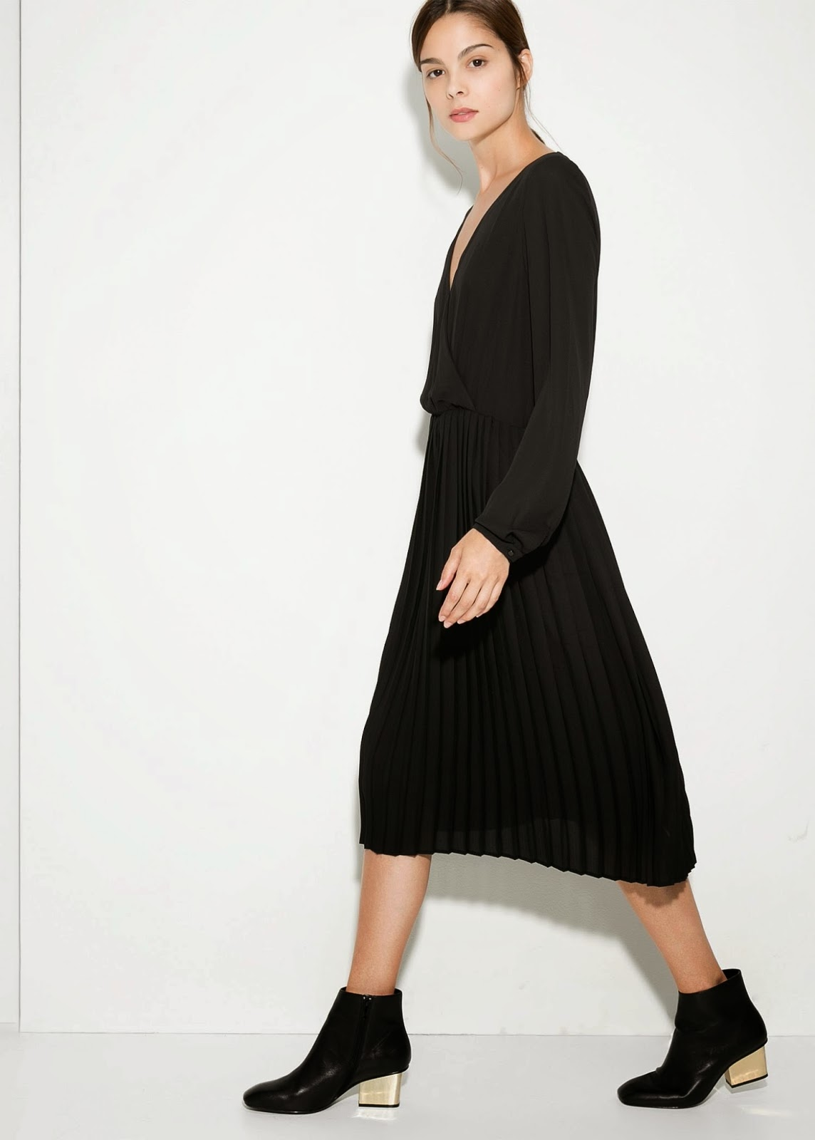 mango black pleated dress