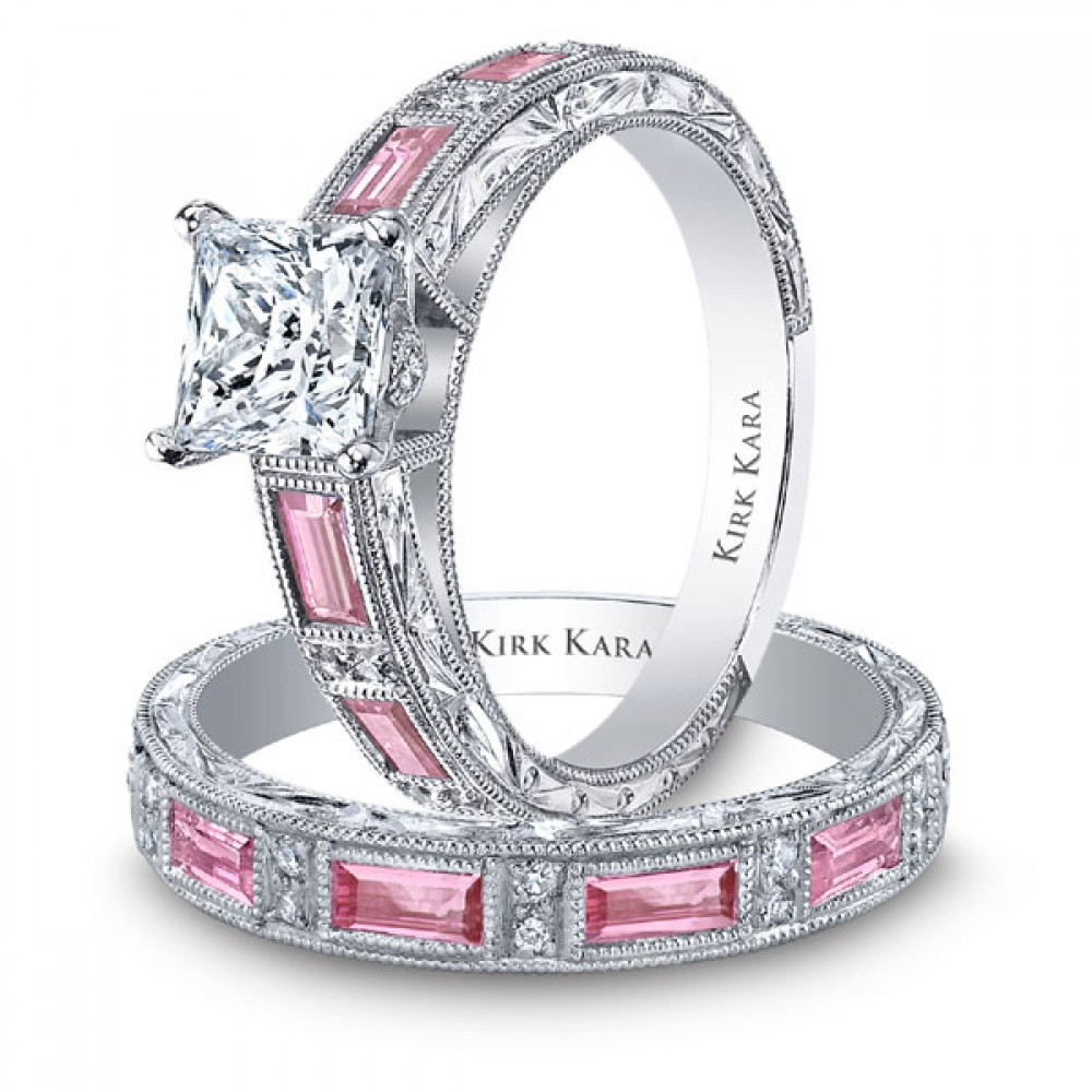 Pinky pearl unique pink diamond rings for Wedding rings with pink