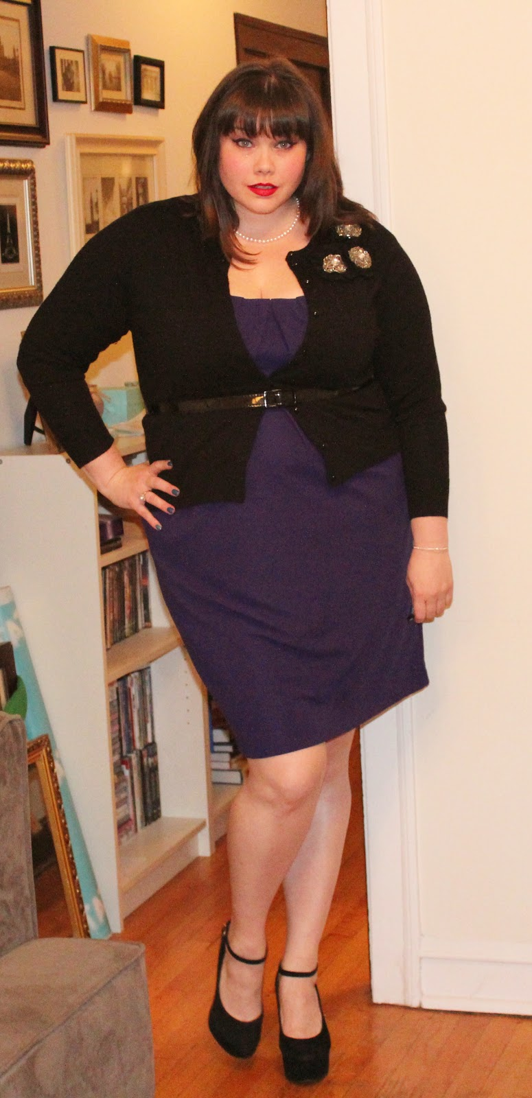 Mad Men Monday: Jewel toned dress and a belted cardigan!
