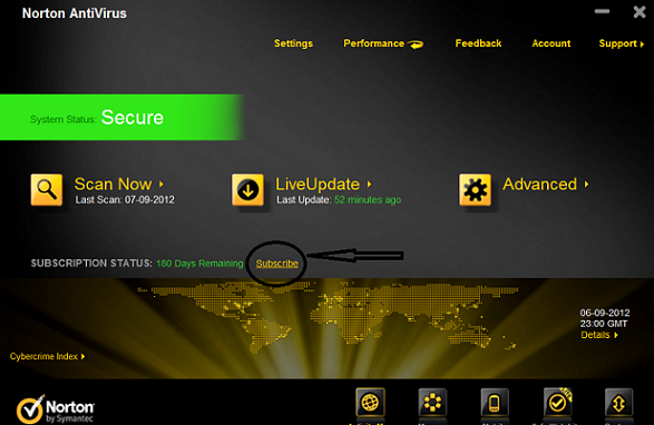 Norton Antivirus 2012 - Subscribe button