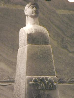 Traian Statue carved in salt, Unirea Salt Mine