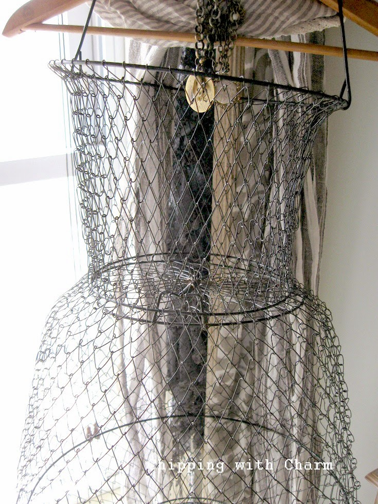 Chipping with Charm: fish basket mannequin...http://www.chippingwithcharm.blogspot.com/