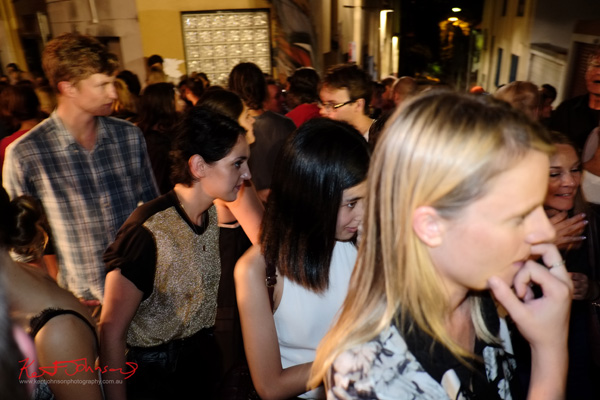 Moving through the crowd, Foley Street art bar, Art Month Sydney art party Darlinghurst Sydney 2013