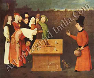 "The Great Artist Hieronymus Bosch Painting Gallery ""The Conjurer c.1470-80"" 20¾"" x 25¾"" Musee Municipal, Saint Germain-en-Laye"