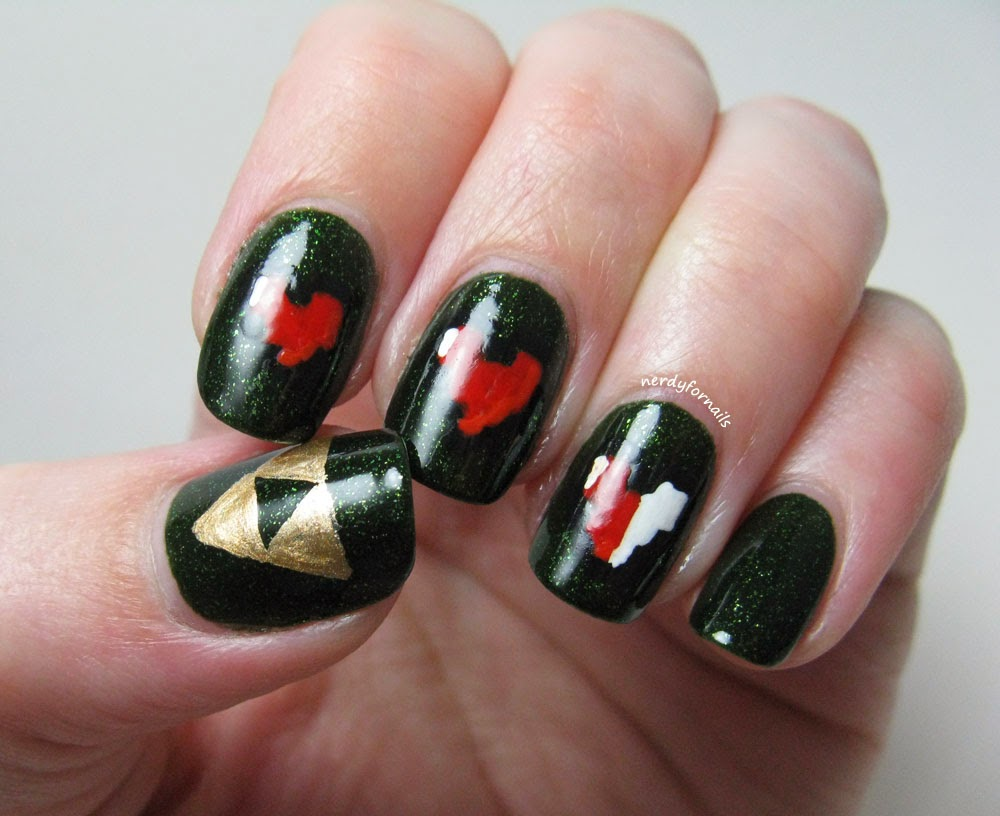 Zelda Triforce Heart Container Nails Nerdy