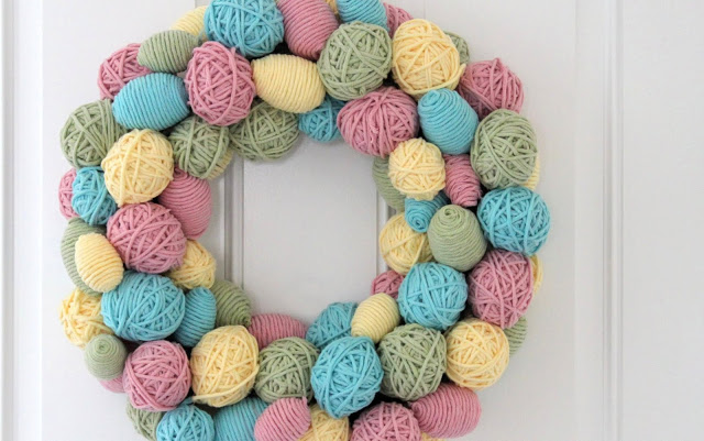 Egg Yarn Wreath by The Sweet Survival