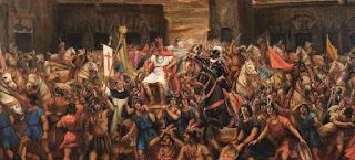 Capture d'Atahualpa par Pizarro et les Espagnols